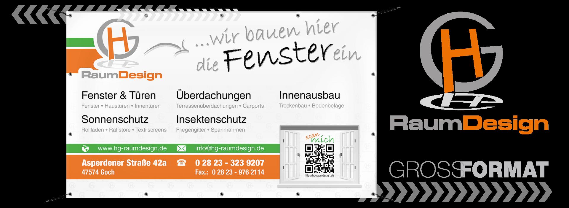 GEstaltung und Druck -PVC-Werbebanner-HG-Raumdesign-GmbH-Goch