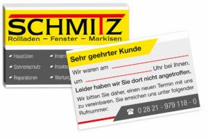 Servicekarte-Rolladenbau-schmit-einseitig-UV-Lack