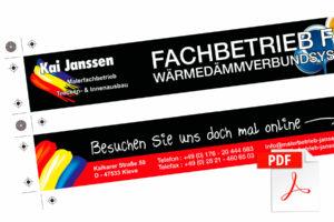 Vektorbasierende Entwurfsansicht von Gliedermaßstäben für Malerfachbetrieb Kai Janssen aus Kleve