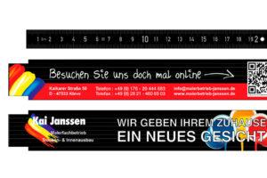 Korrekturabzug der Zollstöcke für den Malerfachbetrieb Kai Janssen aus Kleve